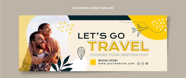 Flat style travel adventure facebook cover