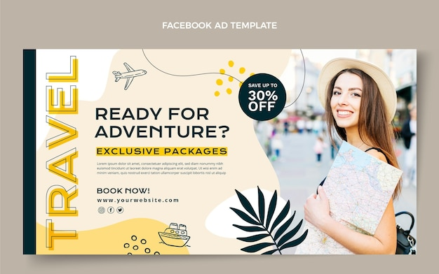Flat style travel adventure facebook template