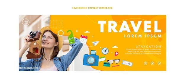 フラットスタイルの旅行facebookカバーテンプレート