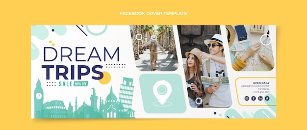 Copertina facebook da viaggio in stile piatto