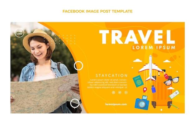 Шаблон сообщения facebook о путешествии в плоском стиле