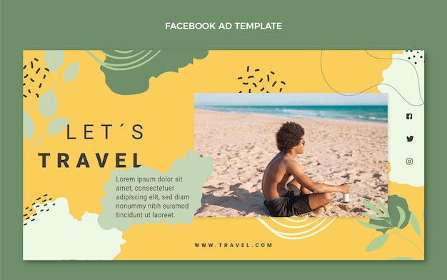 Flat style travel facebook template