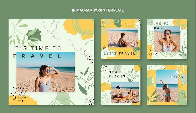 Flat style travel instagram post template