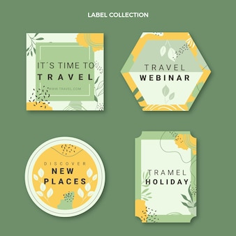 Flat style travel label collection