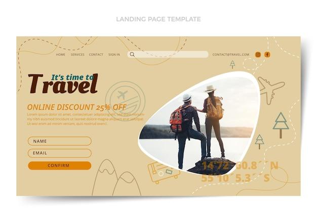 평면 스타일 여행 방문 페이지 템플릿
