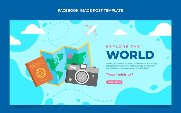 Flat style travel the world facebook post
