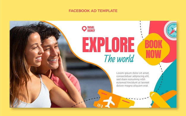 Flat style travel the world facebook template