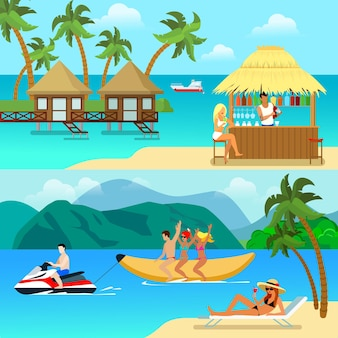 Flat style tropical resort activity illustrations. sexy blonde on beach bar bungalow