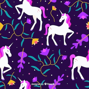 Flat style unicorns and leaves pattern