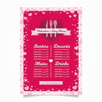 Flat style valentine's day menu