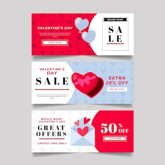 Flat style valentine's day sale banners