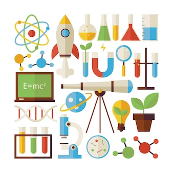 Flat style vector collection of science and education objects isolated over white. collection of chemistry biology physics and research colorful objects. set of back to school items. design elements