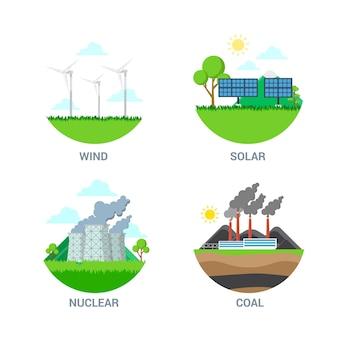 평면 스타일 벡터 녹색 대체 발전소 깨끗한 에코 에너지 오염 된 식물 공장 산업