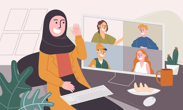 Flat style vector illustration of cartoon muslim woman character waring hijab and working from home.