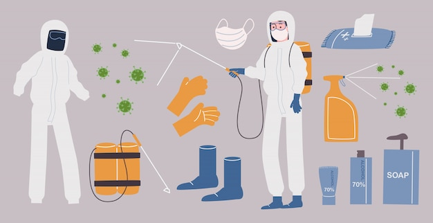 Flat style vector illustration collection of disinfection and anti-bacteria element.
