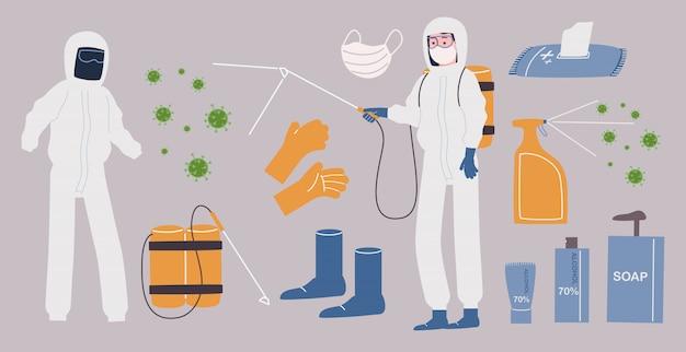 Плоский стиль векторные иллюстрации коллекция дезинфекции и антибактериальных элементов.