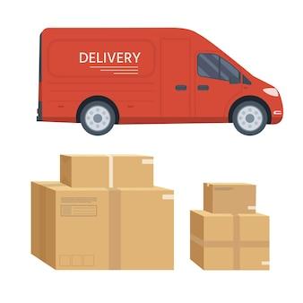 평면 스타일 벡터 일러스트 레이 션 배달 서비스 개념입니다. 흰색 배경에 격리된 상자 컨테이너가 있는 트럭, 상점 배송. 벡터 평면 개념적 디자인입니다.