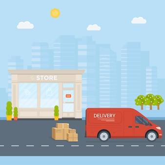 평면 스타일 벡터 일러스트 레이 션 배달 서비스 개념입니다. 상자 컨테이너가 있는 트럭, 상점, 도시 배경이 있는 상점 배송. 벡터 평면 개념적 디자인입니다.