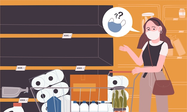 Flat style vector illustration of empty shelf in supermarket.
