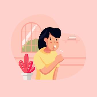 플랫 스타일 벡터 일러스트 레이 션, 소녀 또는 여성 또는 열이있는 사람. 기침과 의료 도움이 필요 프리미엄 벡터