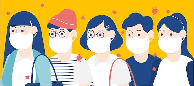 白い医療フェイスマスクの漫画キャラクターの人々のフラットスタイルベクトルイラスト