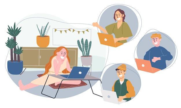 Плоская векторная иллюстрация стиля мультипликационного персонажа, работающего из дома или где угодно.