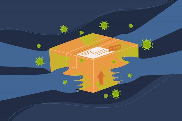 Плоская векторная иллюстрация стиля распространения вируса или микробов почтовой службой.