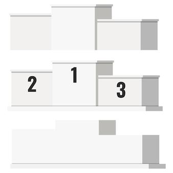 番号と白い背景で隔離のない白い勝者表彰台テンプレートのフラットスタイルのベクトルイラストセット。