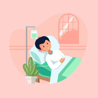 Flat style vector illustration, a sick person is in a medical bed on a drip.