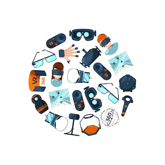 Flat style virtual reality elements gathered in circle illustration isolated