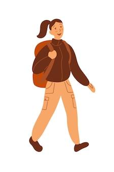Плоский стиль. идет женщина, туристка с большим рюкзаком. пастельные тона. человек идет в поход.