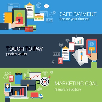 Flat style web banner modern online business payment security icon set