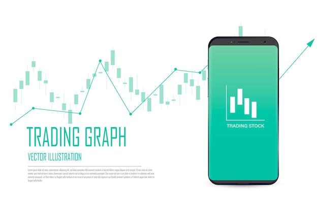 Плоский веб-баннер на концепции мобильной торговли акциями, анализ рынка онлайн-торговли и инвестиций