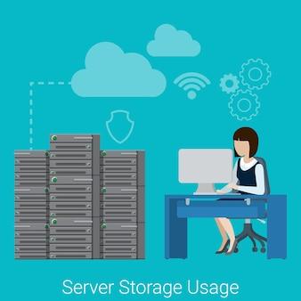 Flat style website server storage usage concept web infographics  illustration.