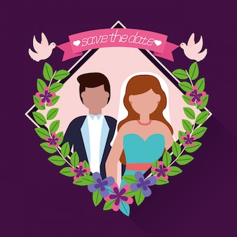 In flat style wedding people