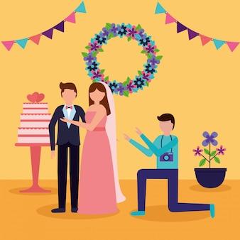 In flat style wedding people