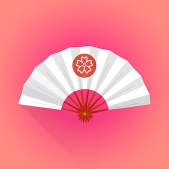 Flat style white color japanese style hand fan illustration