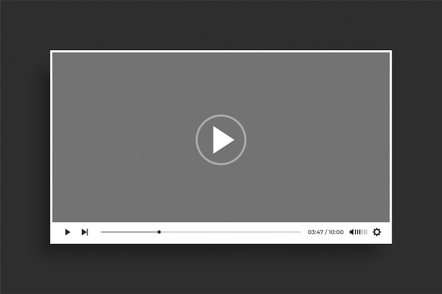 Flat style white video player modern template design
