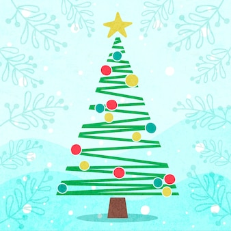 Flat style with cute christmas tree
