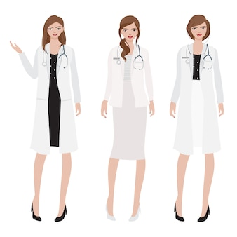 Flat style woman doctor with stethoscope