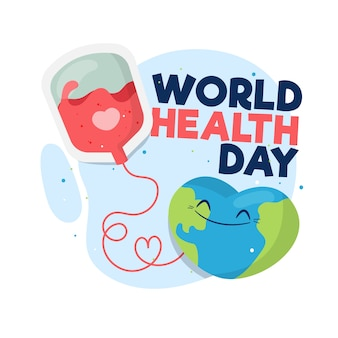 Flat style world health day with blood transfusion