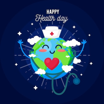 Flat style for world health day