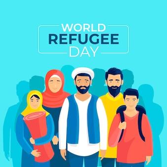 Giornata mondiale del rifugiato in stile piatto