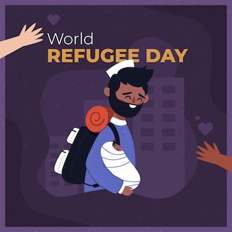 フラットスタイルの世界の難民の日