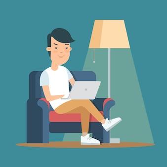 Плоский стиль молодой мужской отдых расслабиться онлайн деятельность векторные иллюстрации человек сидит стул