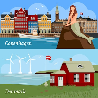 Дания flat style композиции