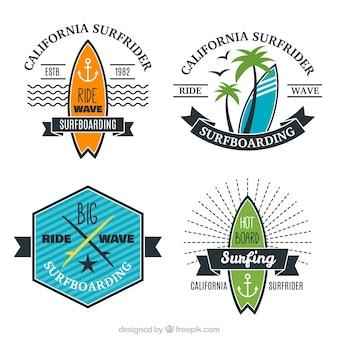 Flat stylish surf badges