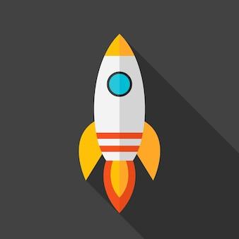 플랫 양식된 로켓입니다. 긴 그림자가 있는 평면 양식 개체