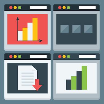フラットな定型化されたwebページのアイコンを設定します。 4つのフラットなwebページ