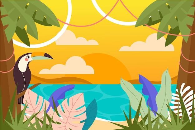 ビデオ通話のフラットな夏の背景
